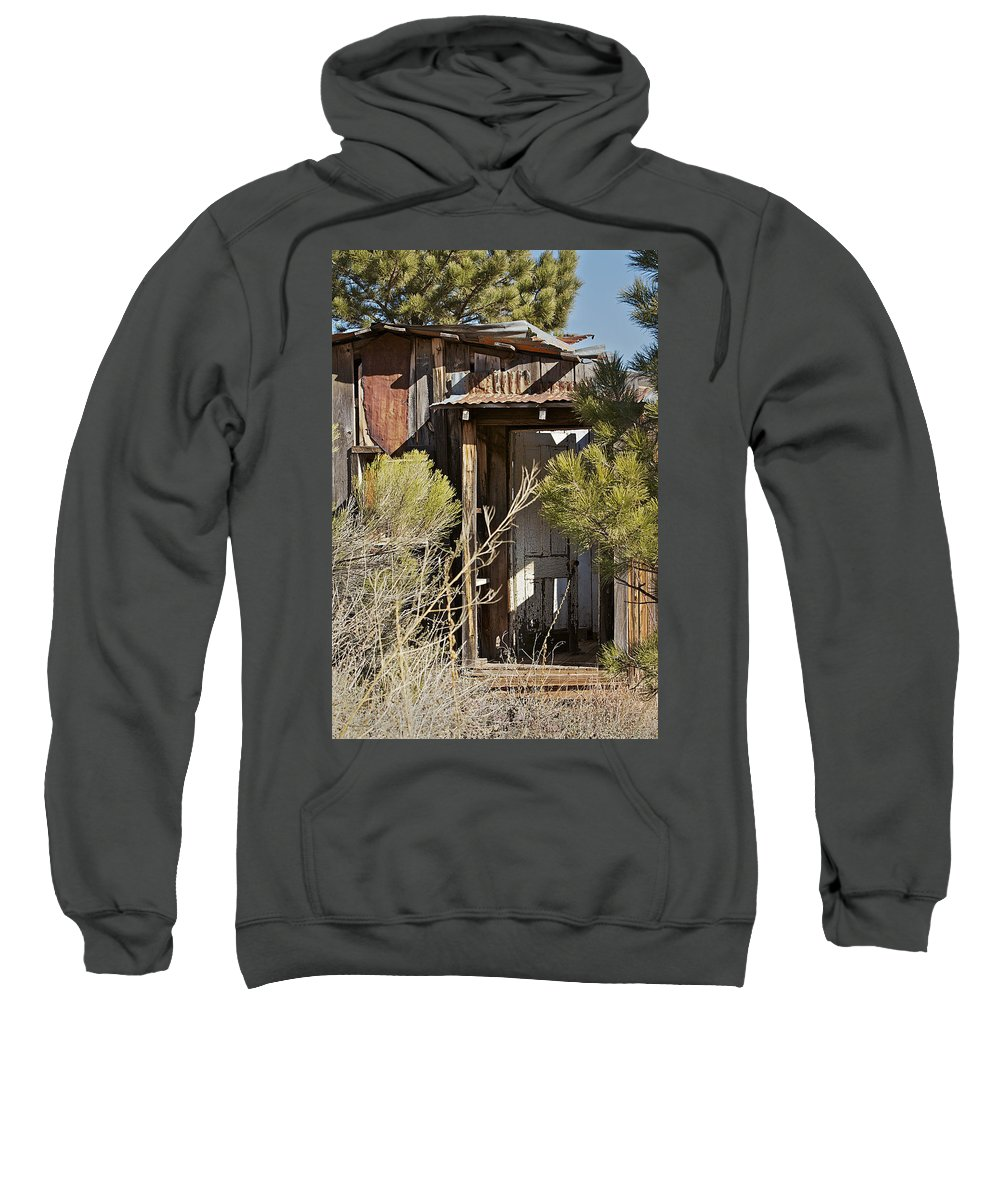 Cabin Sweatshirt featuring the photograph Old Miner's Cabin by Phyllis Denton
