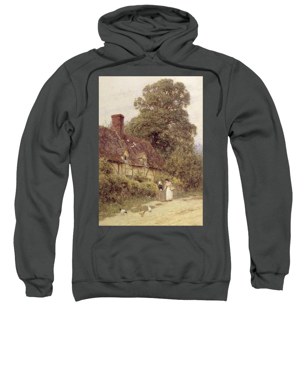 Cottage; Friends; Gate; Rural Scene; Country; Countryside; Path; Sunflowers; Wildflowers; Chickens; Picturesque; Idyllic; Timber Frame; Half-timbered; Female Sweatshirt featuring the painting Old Post Office Brook Near Witley Surrey by Helen Allingham