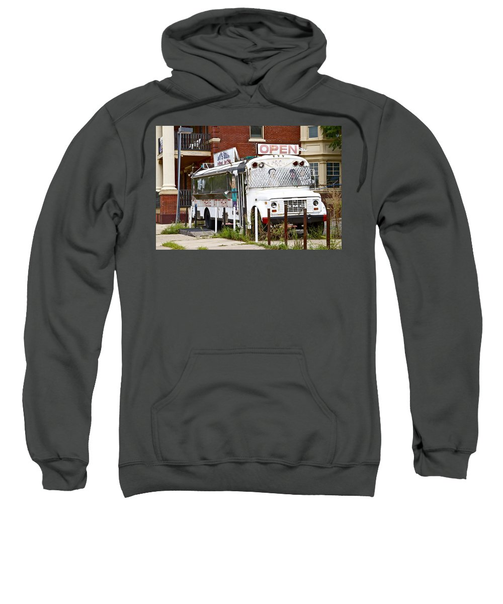 Scenic Philadelphia Trash Bus White Decrepit Sweatshirt featuring the photograph Open by Alice Gipson