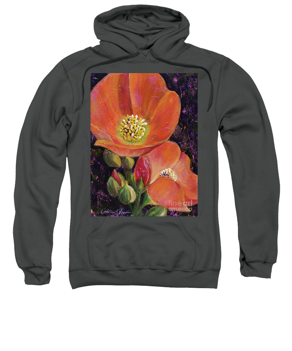 Orange Sweatshirt featuring the painting Orange Globe Mallows by Catalina Rankin