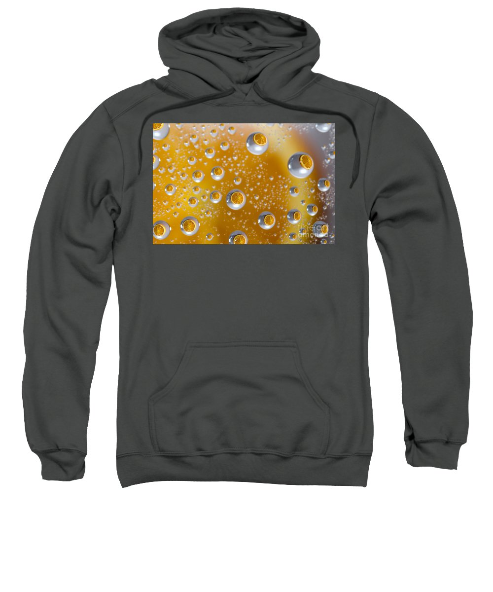 Orange Sweatshirt featuring the photograph Orange Water Drops by Mats Silvan