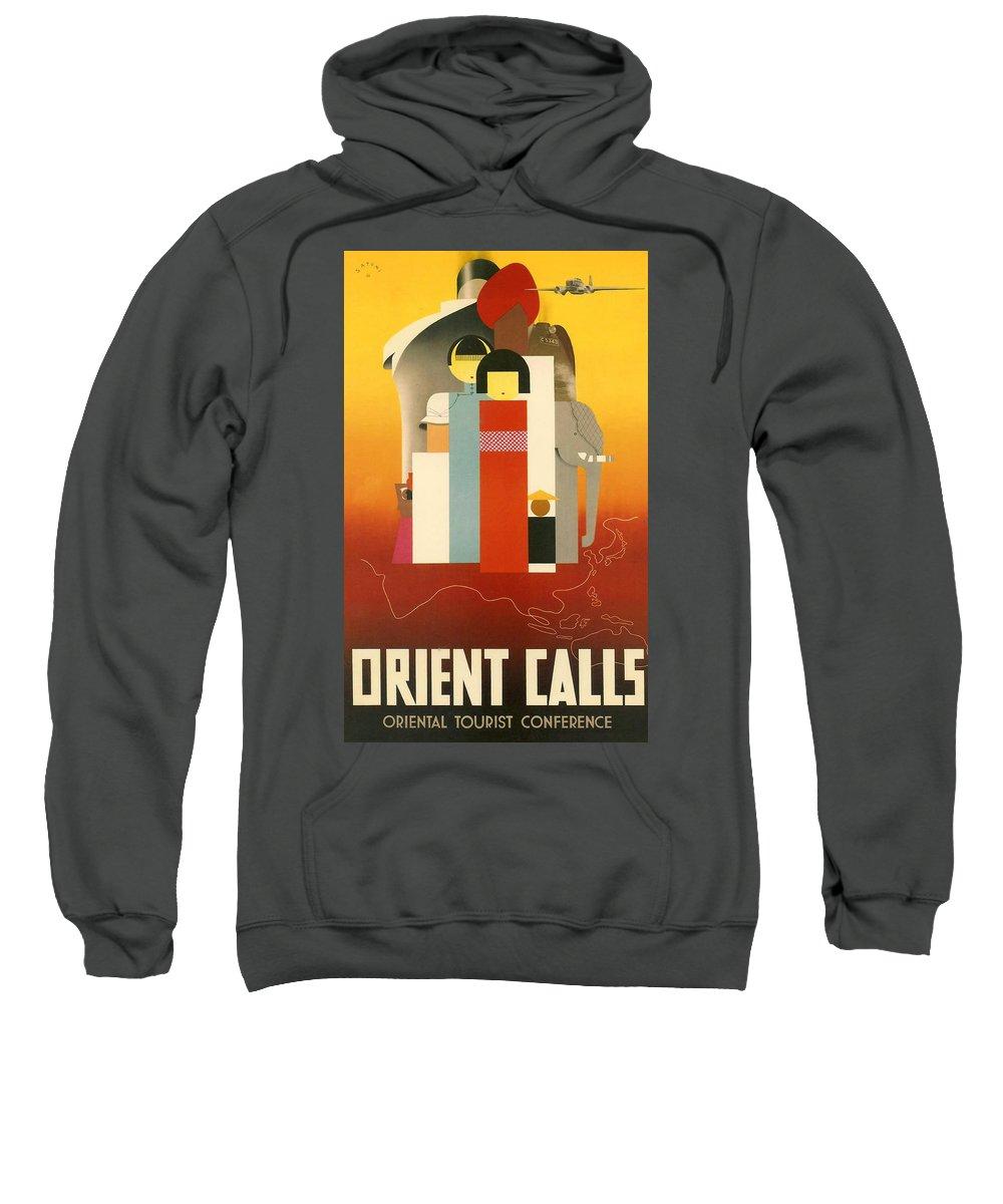 Orient Sweatshirt featuring the digital art Orient Calls by Georgia Fowler