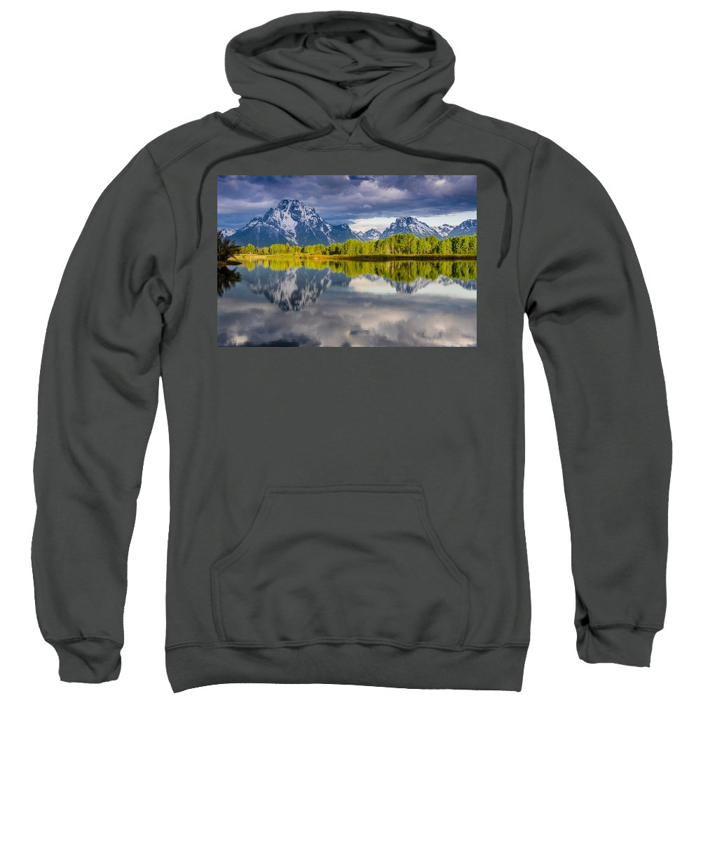 Grand Tetons National Park Sweatshirt featuring the photograph Oxbow Light by Greg Nyquist