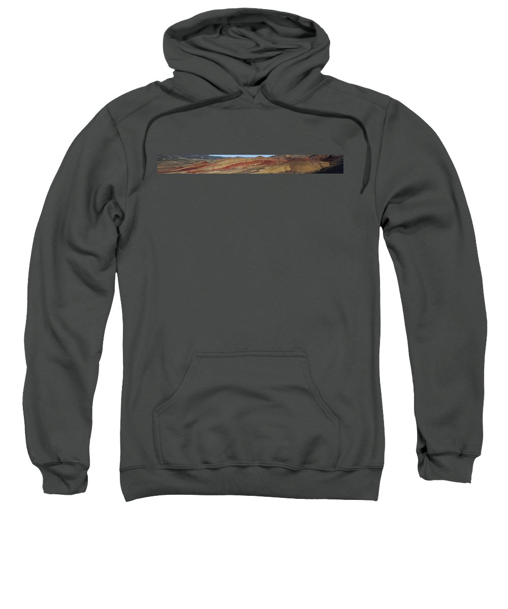 Sweeping Sweatshirt featuring the photograph Painted Hills Panoramic by Karen Ulvestad