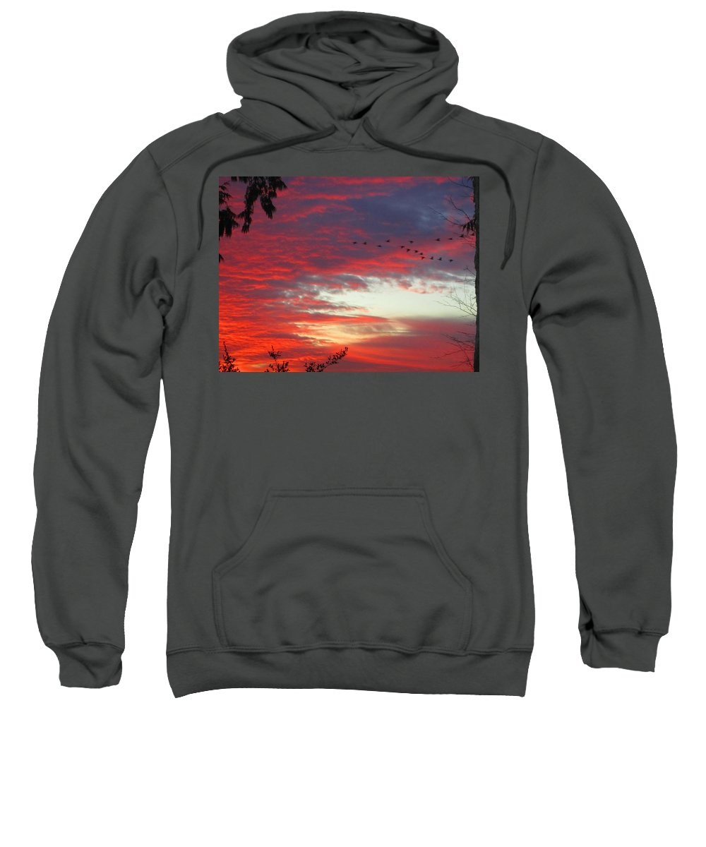 Peach Sweatshirt featuring the photograph Papaya Colored Sunset With Geese by Kym Backland