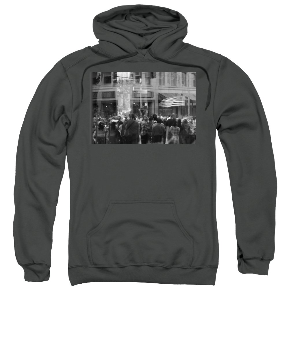 Seattle Torch Light Parade Sweatshirt featuring the photograph Parade Crowd Reflected by Eric Tressler