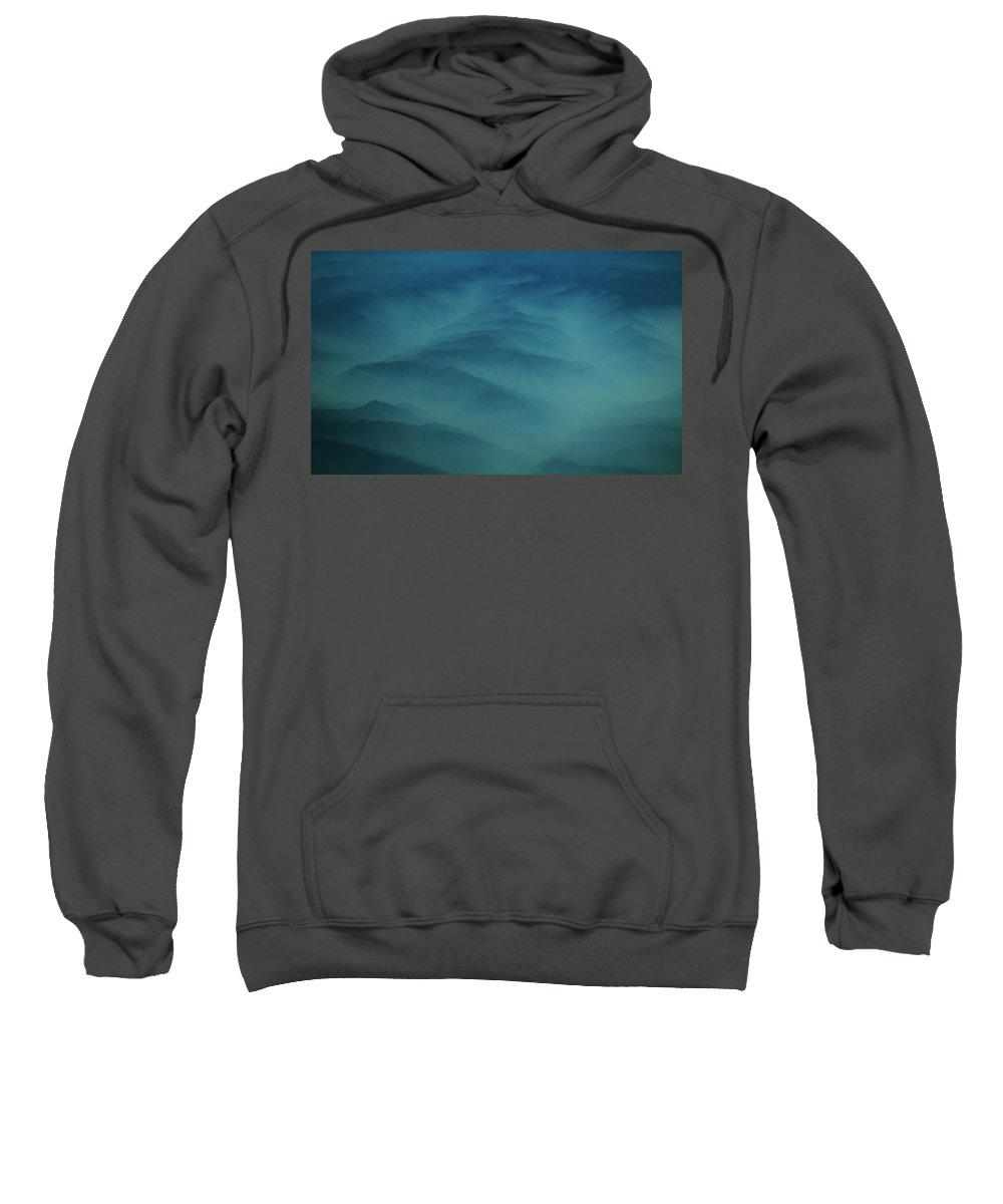 Aerial Photography Sweatshirt featuring the photograph Pdx Mountain Haze by Strato ThreeSIXTYFive