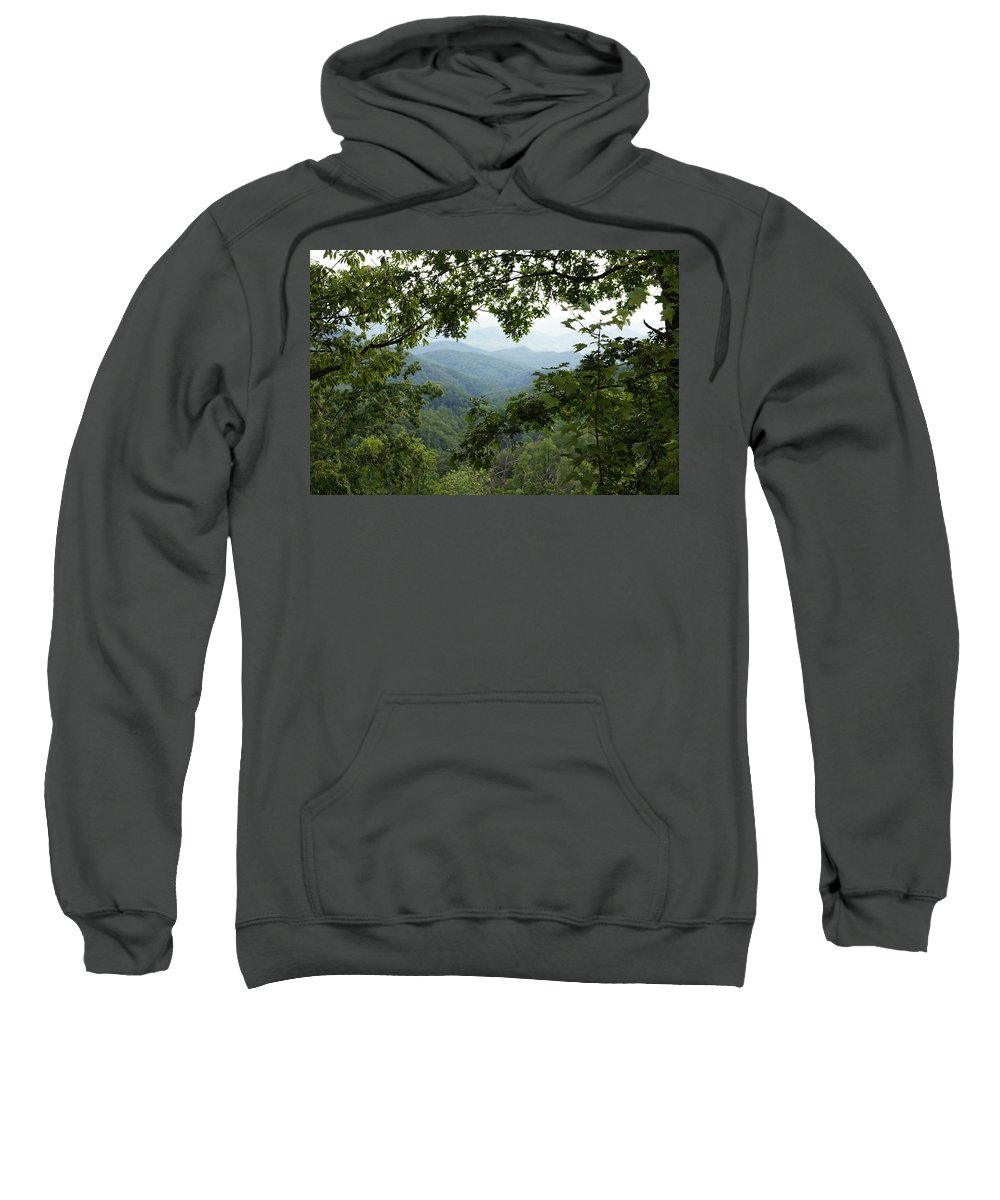 Smoky Mountains Sweatshirt featuring the photograph Peak At The Mountains by Megan Cohen