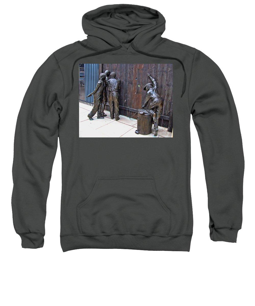 Mudhens Sweatshirt featuring the photograph Peeking At Baseball Game Sculpture by Jack Schultz