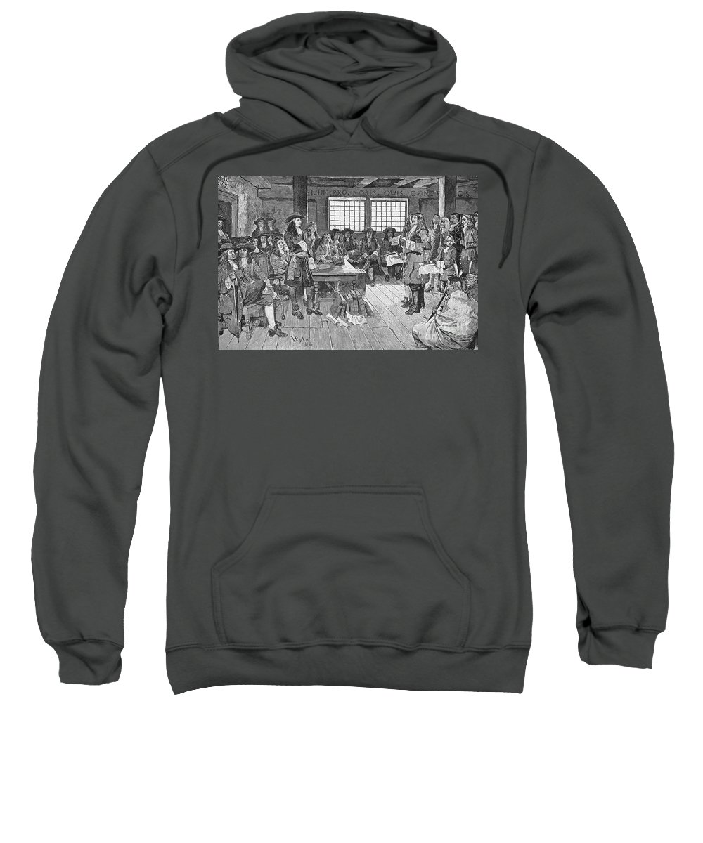 1682 Sweatshirt featuring the photograph Penn And Colonists, 1682 by Granger