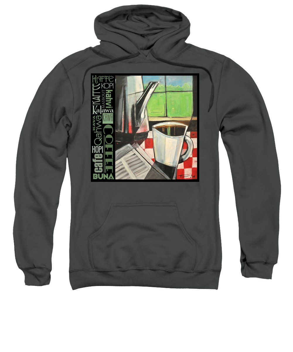 Coffee Sweatshirt featuring the painting Perk Coffee Languages Poster by Tim Nyberg