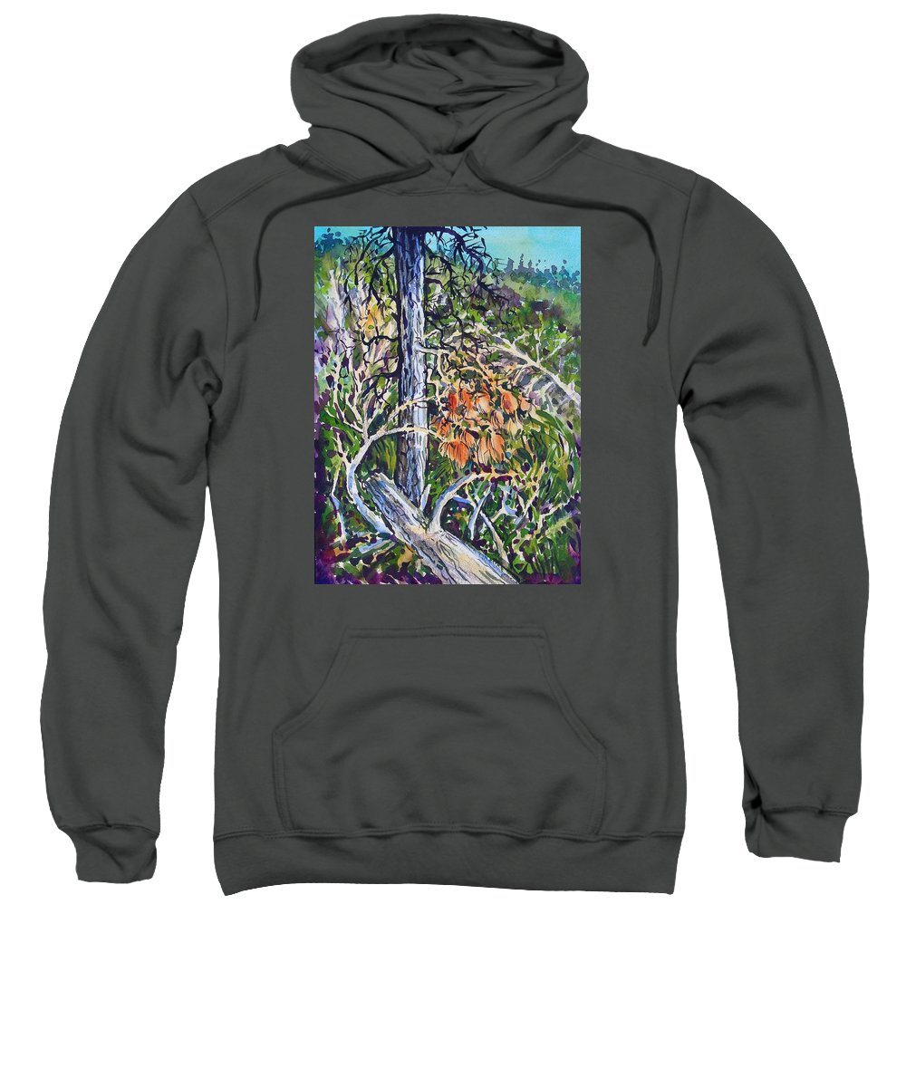 Ponserosa Pines Sweatshirt featuring the painting Petroglyph Pines by Lynne Haines