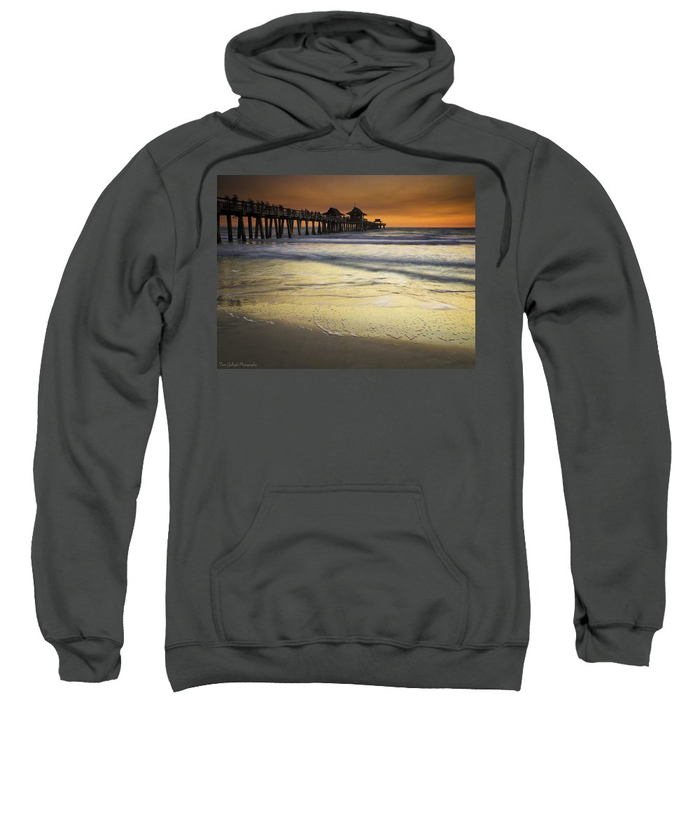 Pier Sweatshirt featuring the photograph Pier At Sunset by Fran Gallogly