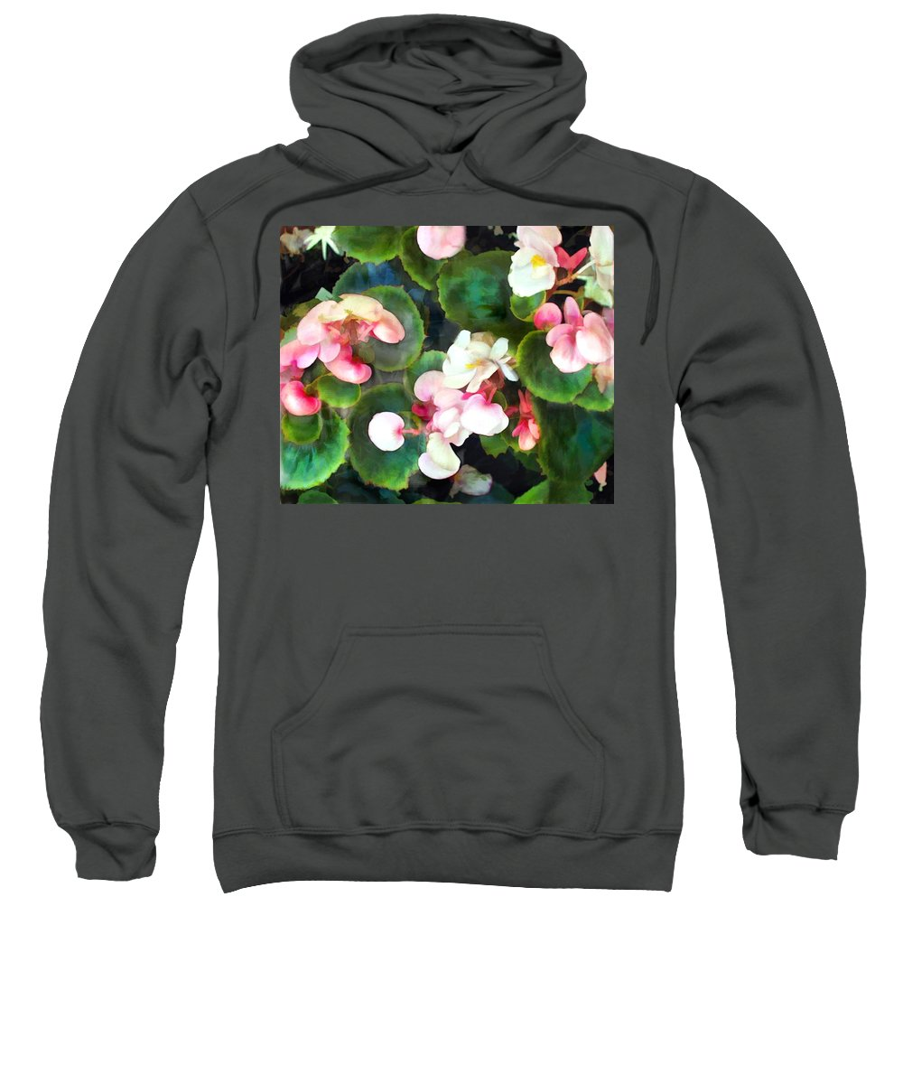 Flower Flowers Garden Begonia Begonias Wax+begonias Pink Flora Floral Nature Natural Sweatshirt featuring the painting Pink Begonias by Elaine Plesser