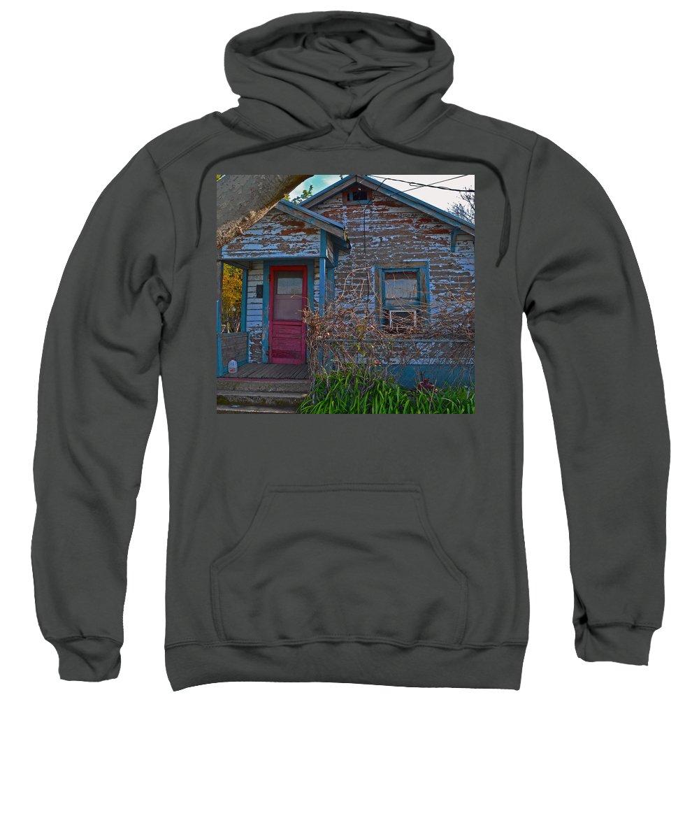 Old Building Sweatshirt featuring the photograph Pink Door by Bill Owen