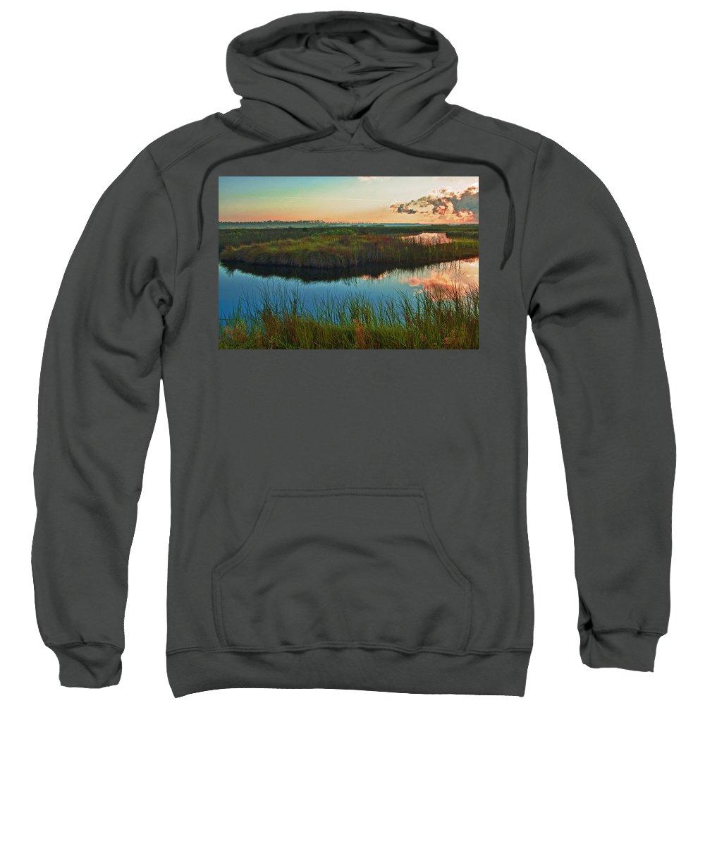 Alabama Photographer Sweatshirt featuring the digital art Pink Swamp Sunrise by Michael Thomas