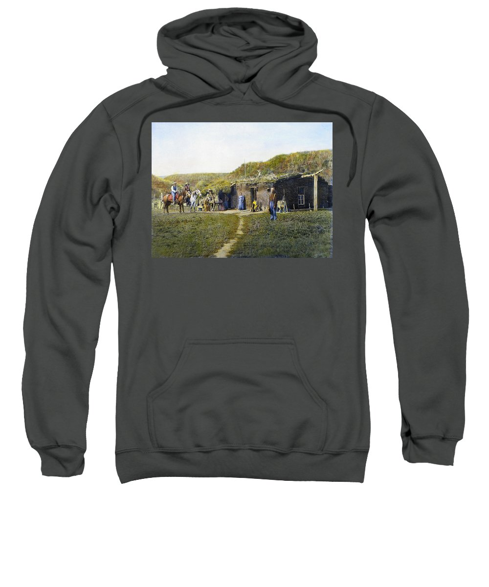 1887 Sweatshirt featuring the photograph Pioneers Sod House, 1887 by Granger