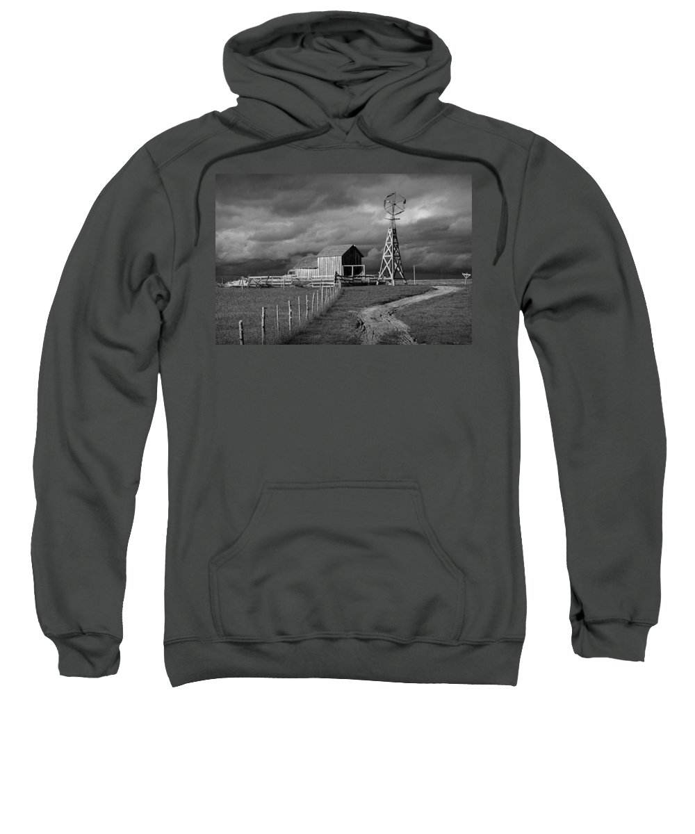 Art Sweatshirt featuring the photograph Plains Frontier Farm And Windmill At 1880's Town In South Dakota by Randall Nyhof