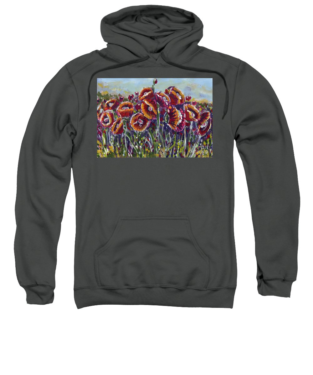 Poppies Sweatshirt featuring the painting Poppies In My Field by Dinah Anaya