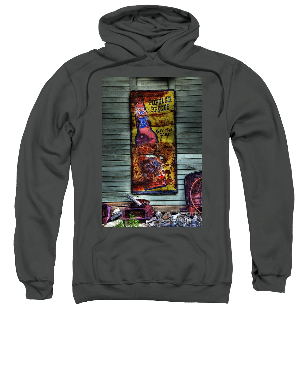 Sign Sweatshirt featuring the photograph Popular Prices by Bob Christopher
