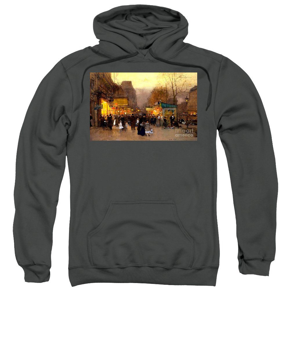 The Top Of The Monumental Arch Itself Sweatshirt featuring the painting Porte St Martin At Christmas Time In Paris by Luigi Loir