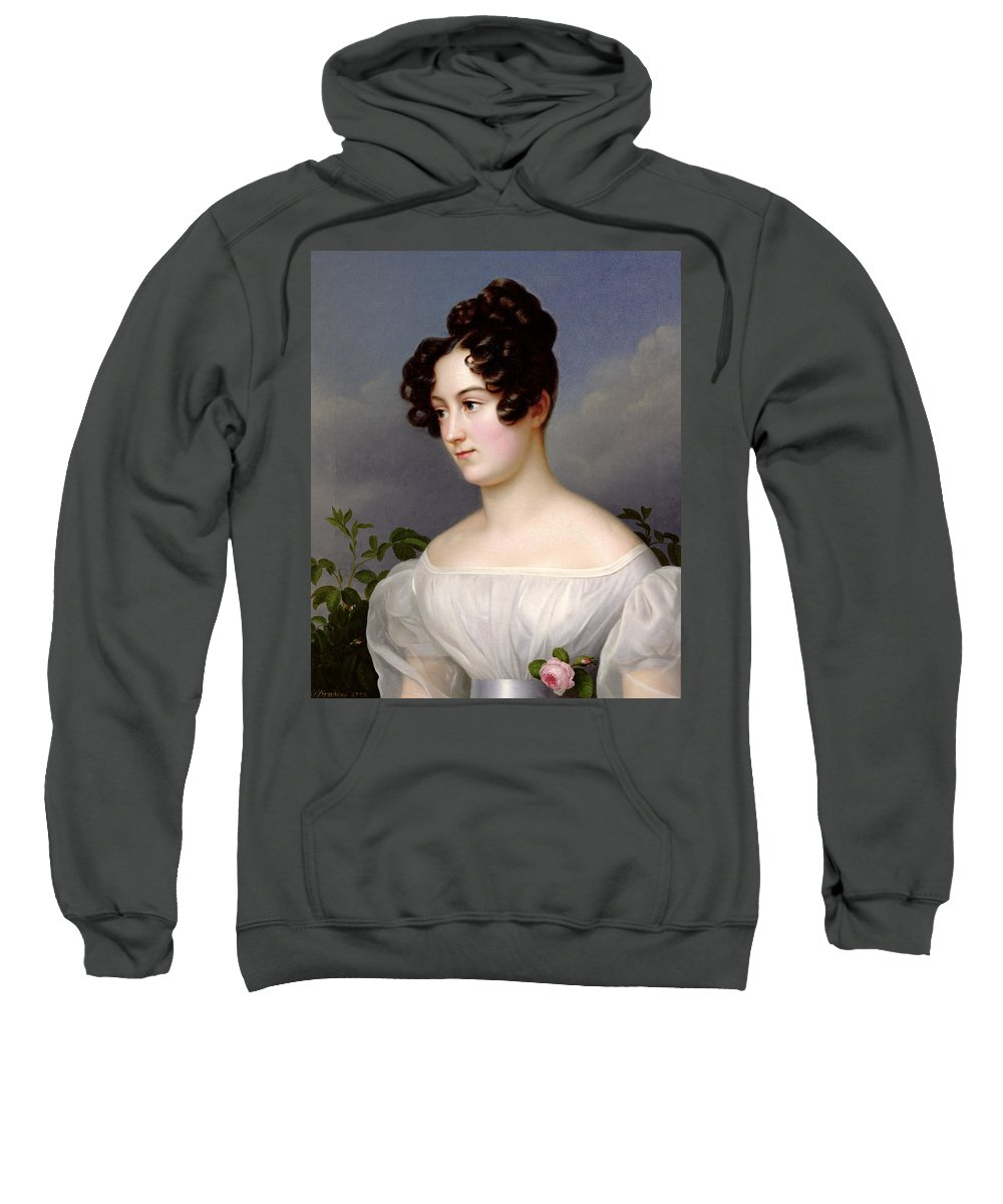 Chiffon; Coiffured Hair; Rose; Empire Line; Regency; Coiffure; Regence; Pale Complexion Sweatshirt featuring the painting Portrait Of A Young Woman by Franz Seraph Stirnbrand
