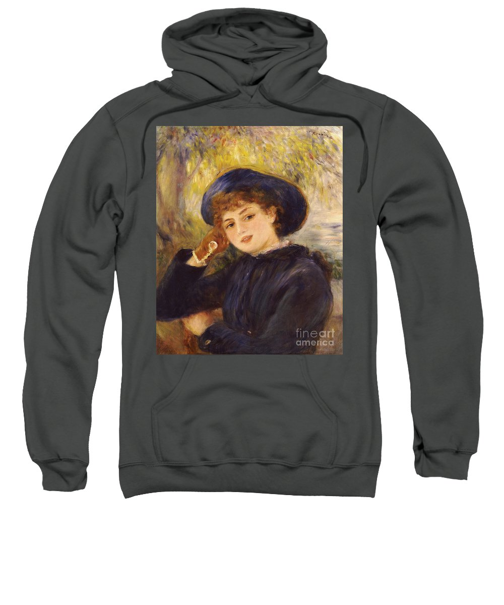 Impressionist; Impressionism; Female; Half Length; Portrait Sweatshirt featuring the painting Portrait Of Mademoiselle Demarsy by Pierre Auguste Renoir