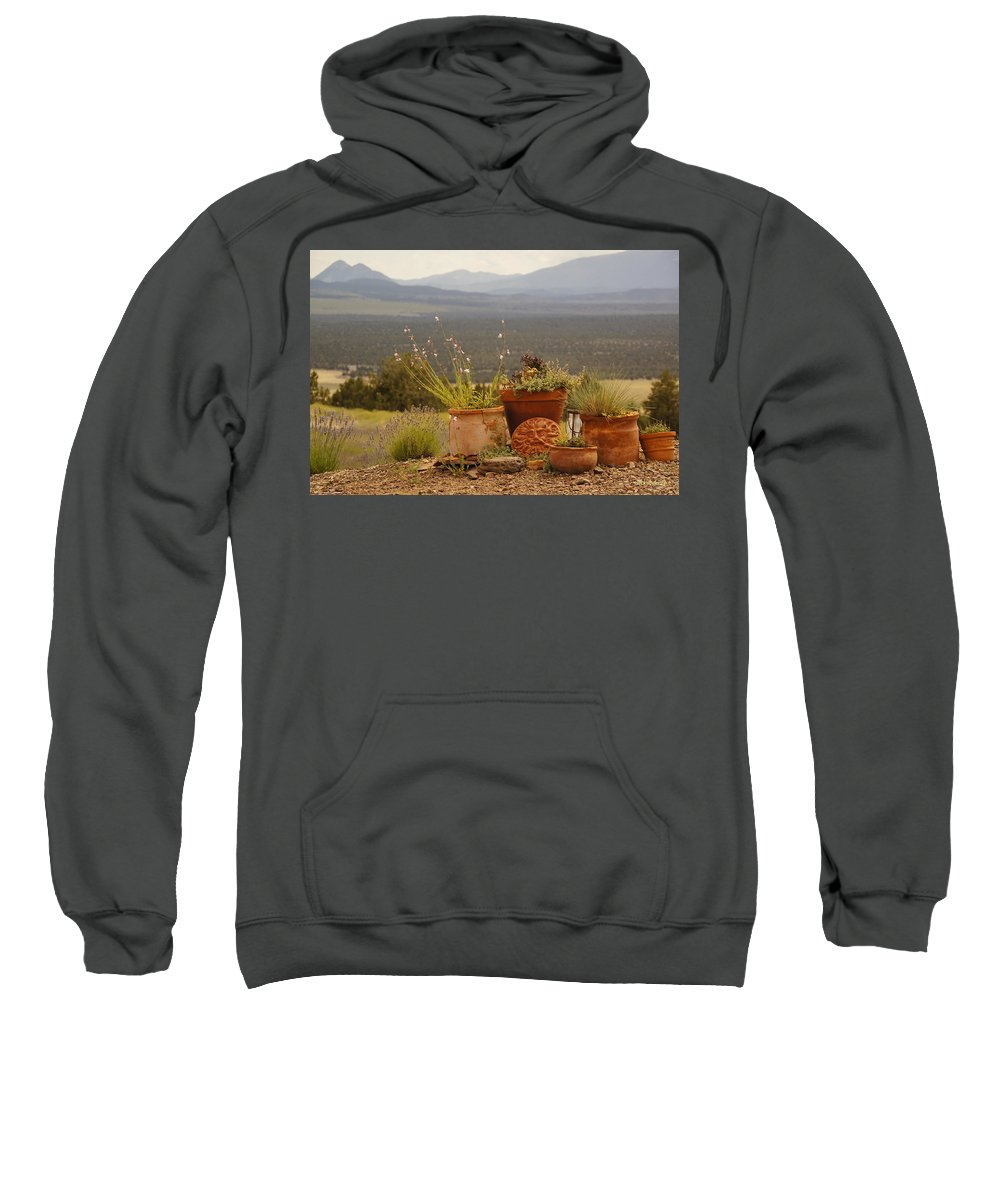 Pots Sweatshirt featuring the photograph Pots And Vista by Mick Anderson