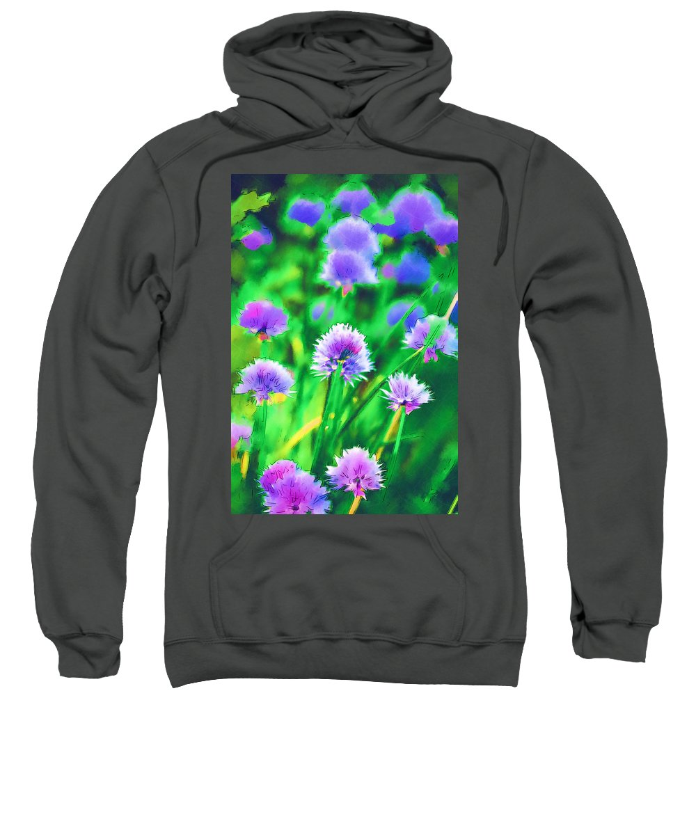 Chives Sweatshirt featuring the photograph Purple And Green Chive Watercolor by Kathy Clark