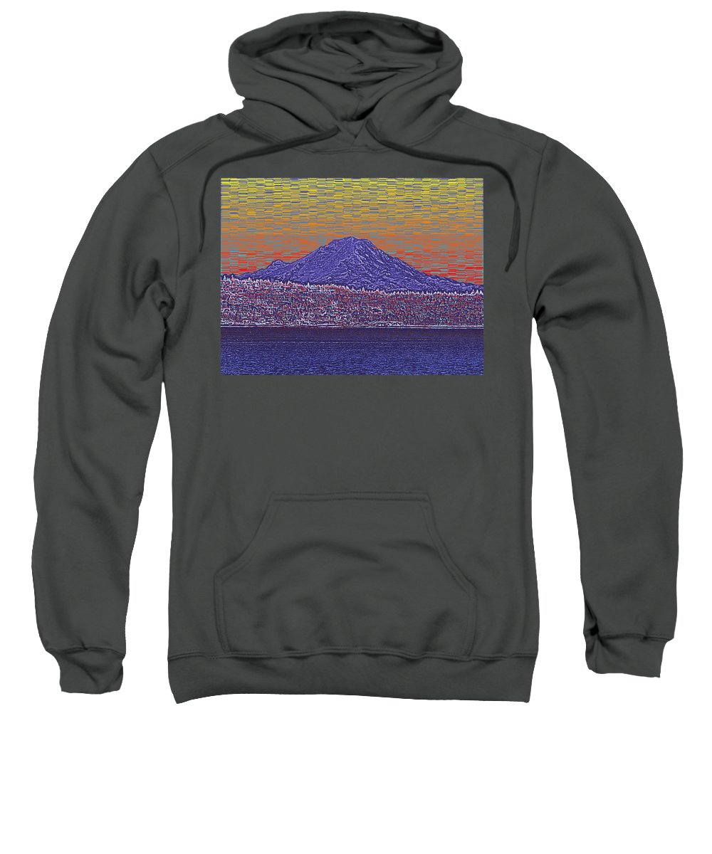 Mount Rainier Sweatshirt featuring the digital art Purple Mountain Majesty Sunset by Tim Allen
