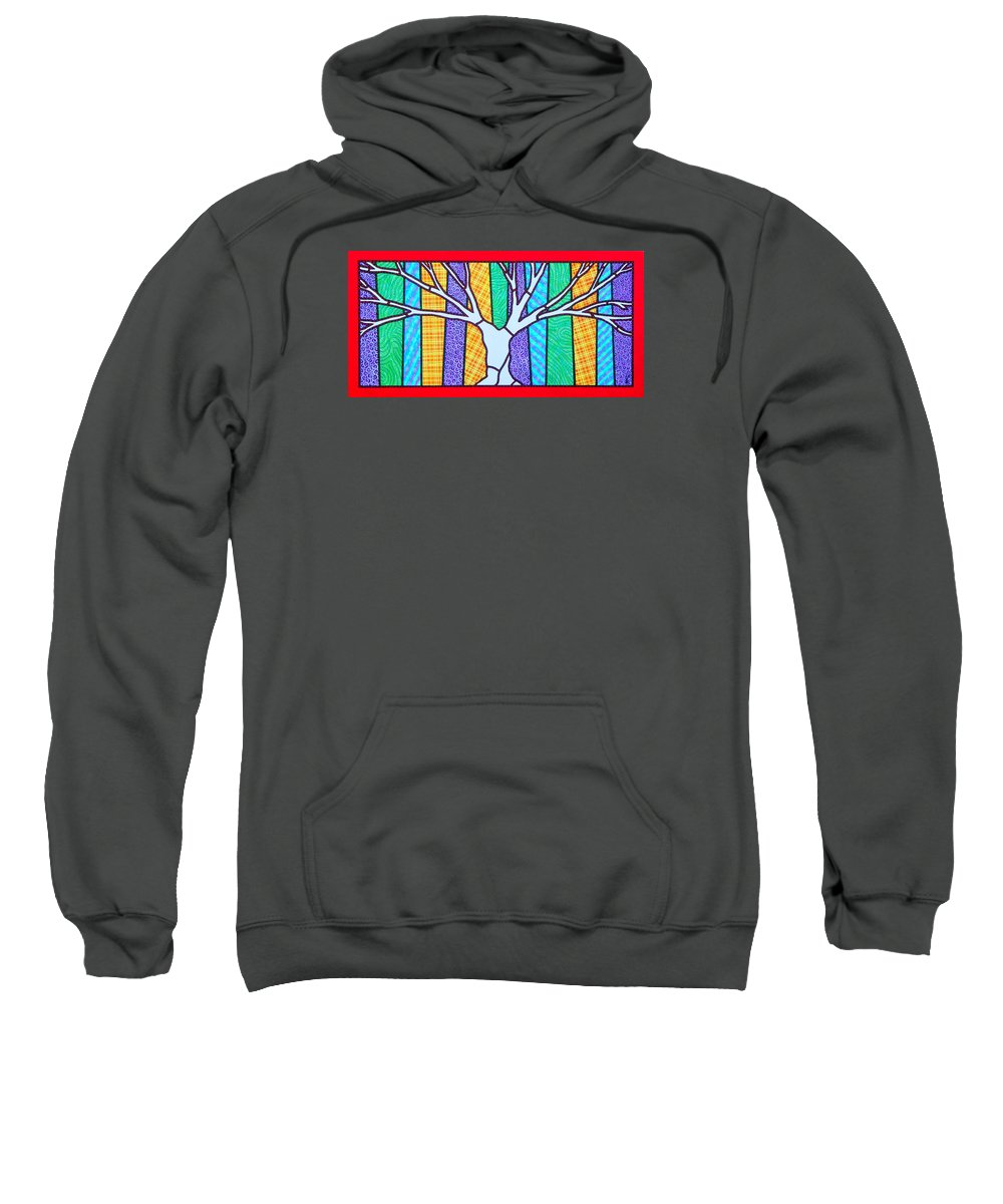 Tree Sweatshirt featuring the painting Quilted Winter Tree by Jim Harris