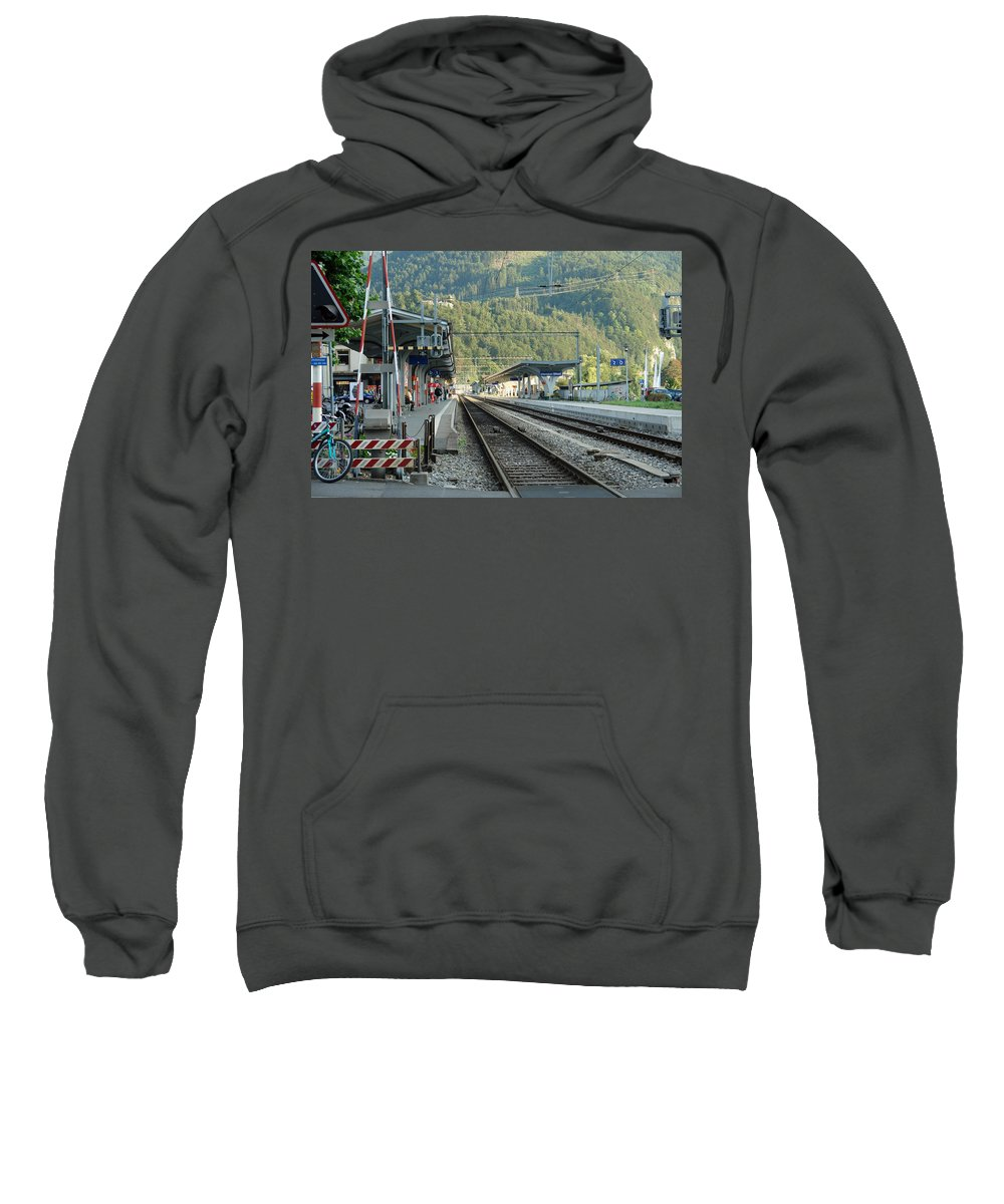 Railway Sweatshirt featuring the photograph Railway Station West Interlaken Switzerland by Ashish Agarwal