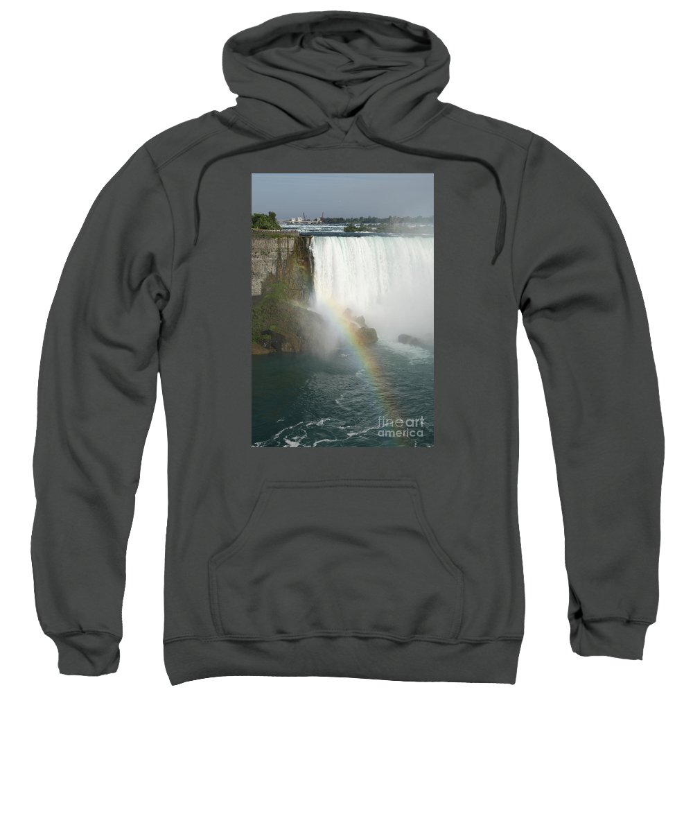 Rainbow Sweatshirt featuring the photograph Rainbow In The Mist - Niagara Falls by Christiane Schulze Art And Photography