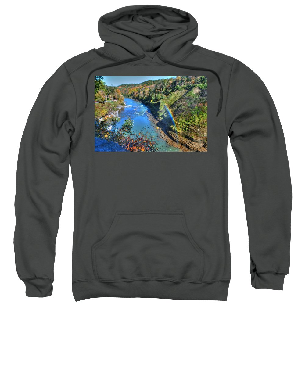 Sweatshirt featuring the photograph Rainbow On A Beautiful Oct Day by Michael Frank Jr