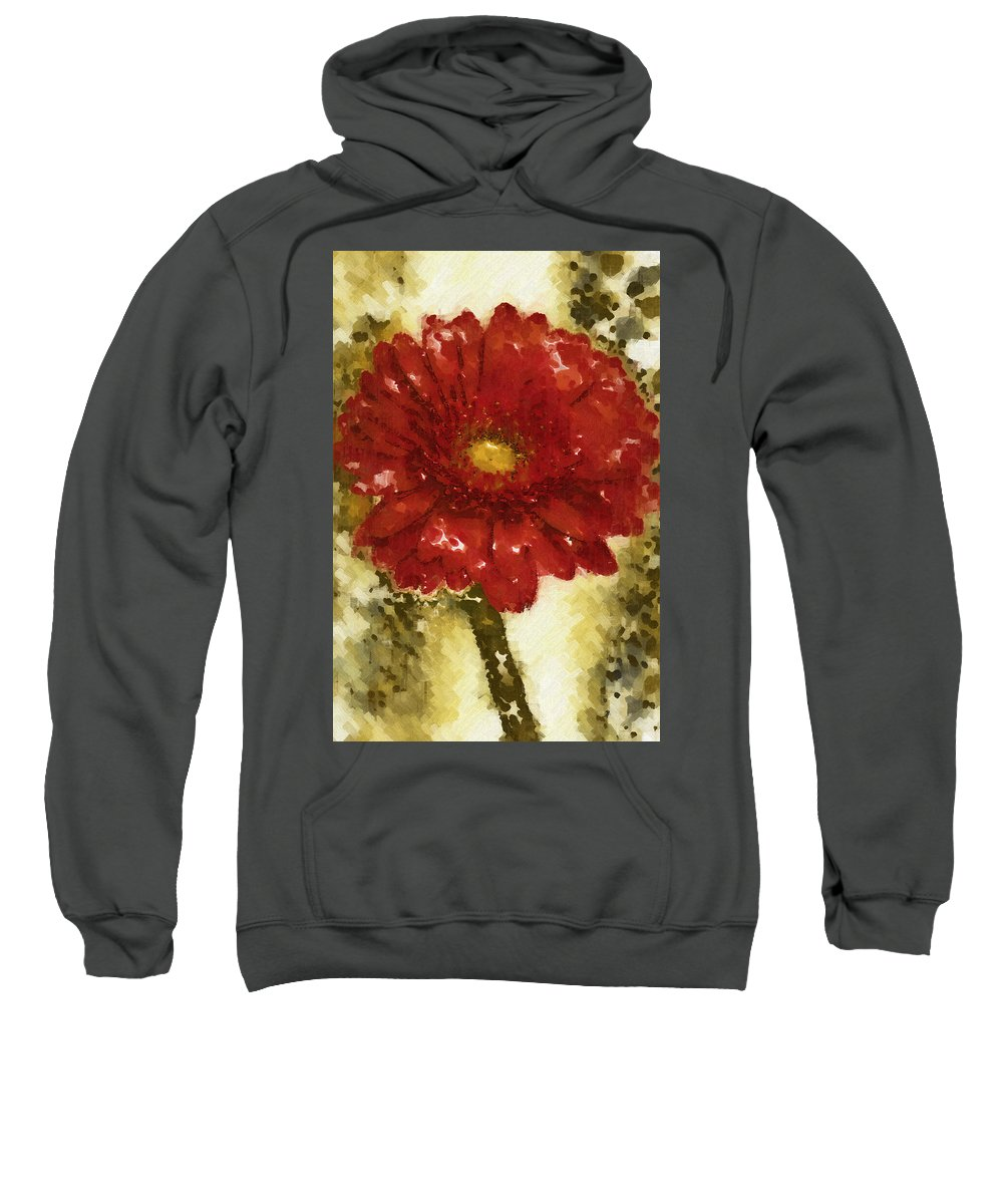 Gerbera Sweatshirt featuring the photograph Really Red Posey by Kathy Clark