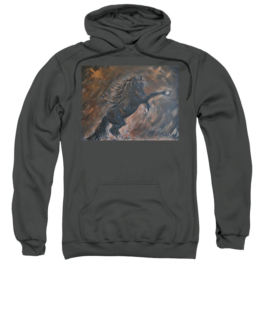 Horse Sweatshirt featuring the painting Rebellion by Leslie Allen