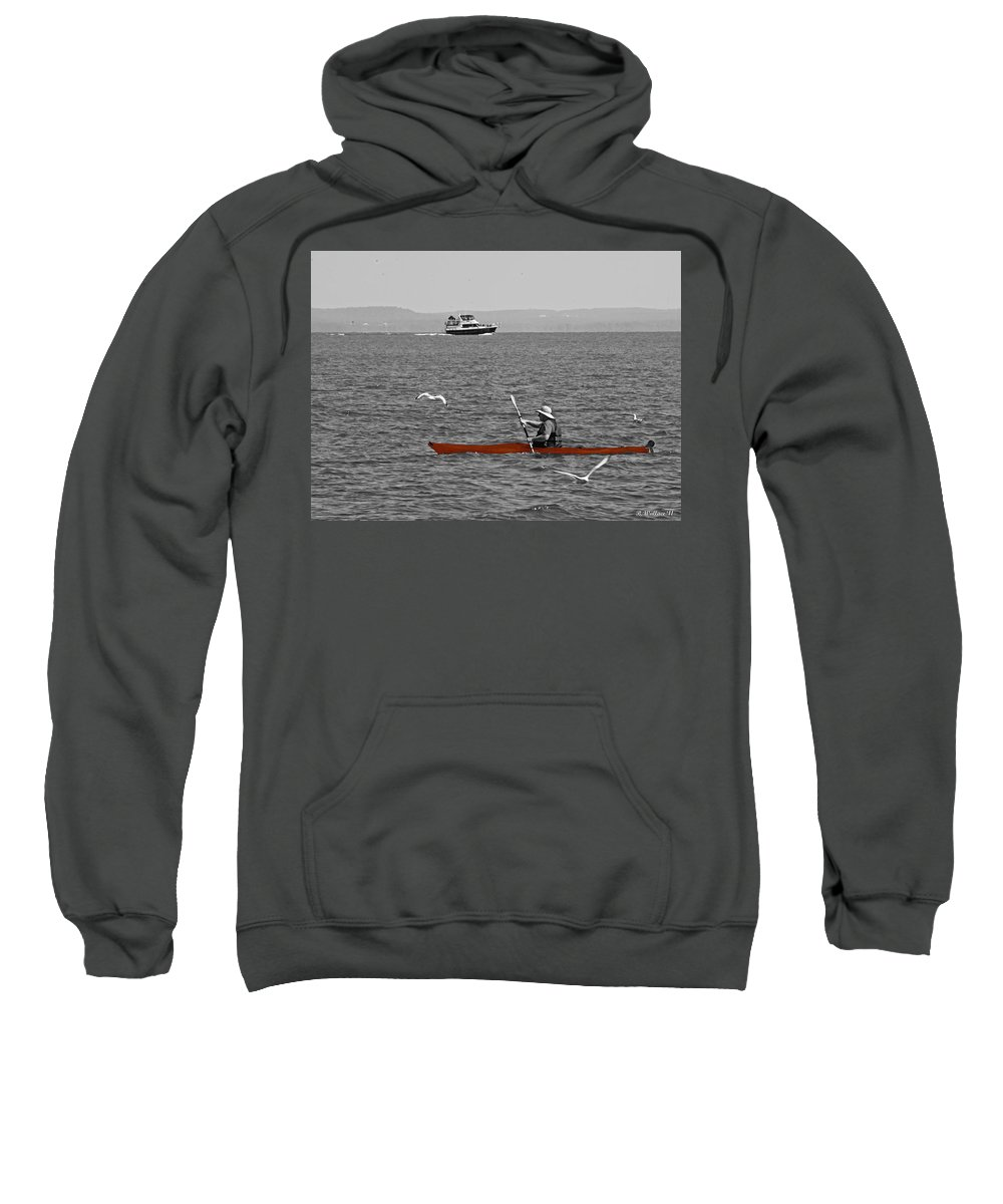 2d Sweatshirt featuring the photograph Red Canoe by Brian Wallace