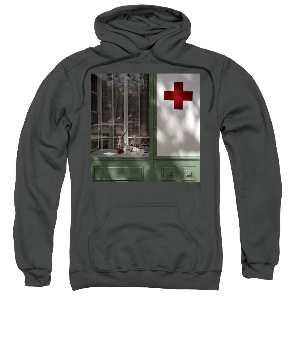 Serbia Belgrade Sweatshirt featuring the photograph Red Cross. Belgrade. Serbia by Juan Carlos Ferro Duque