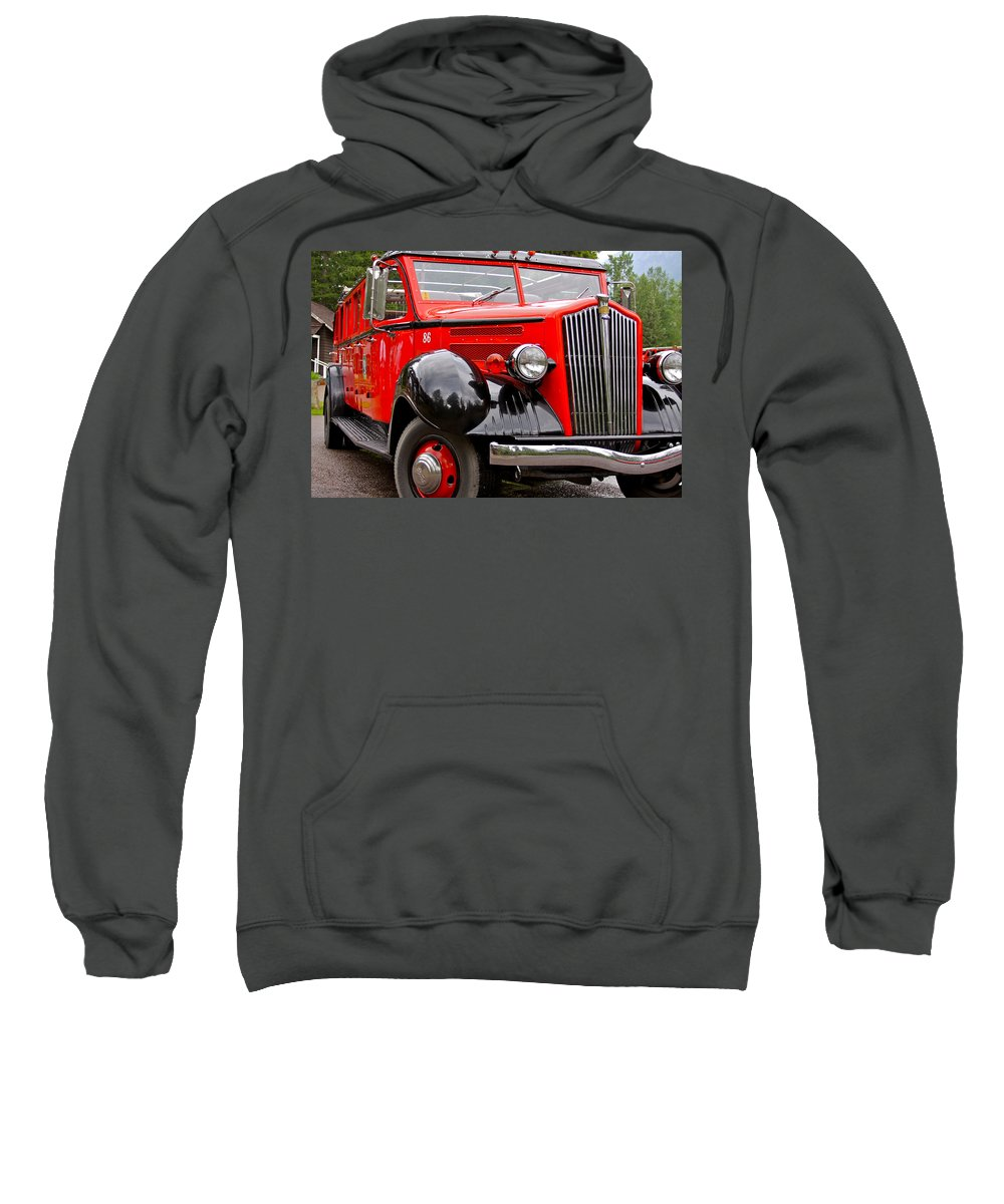 Red Sweatshirt featuring the photograph Red Jammer Tour Bus Glacier National Park by Karon Melillo DeVega