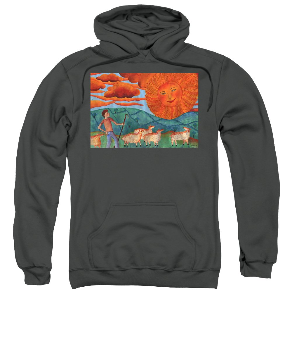 Sun Sweatshirt featuring the painting Red Sky At Night by Sushila Burgess