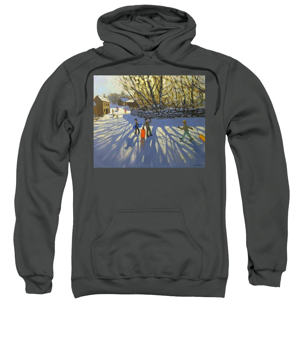 English Landscape Sweatshirt featuring the painting Red Sledge by Andrew Macara