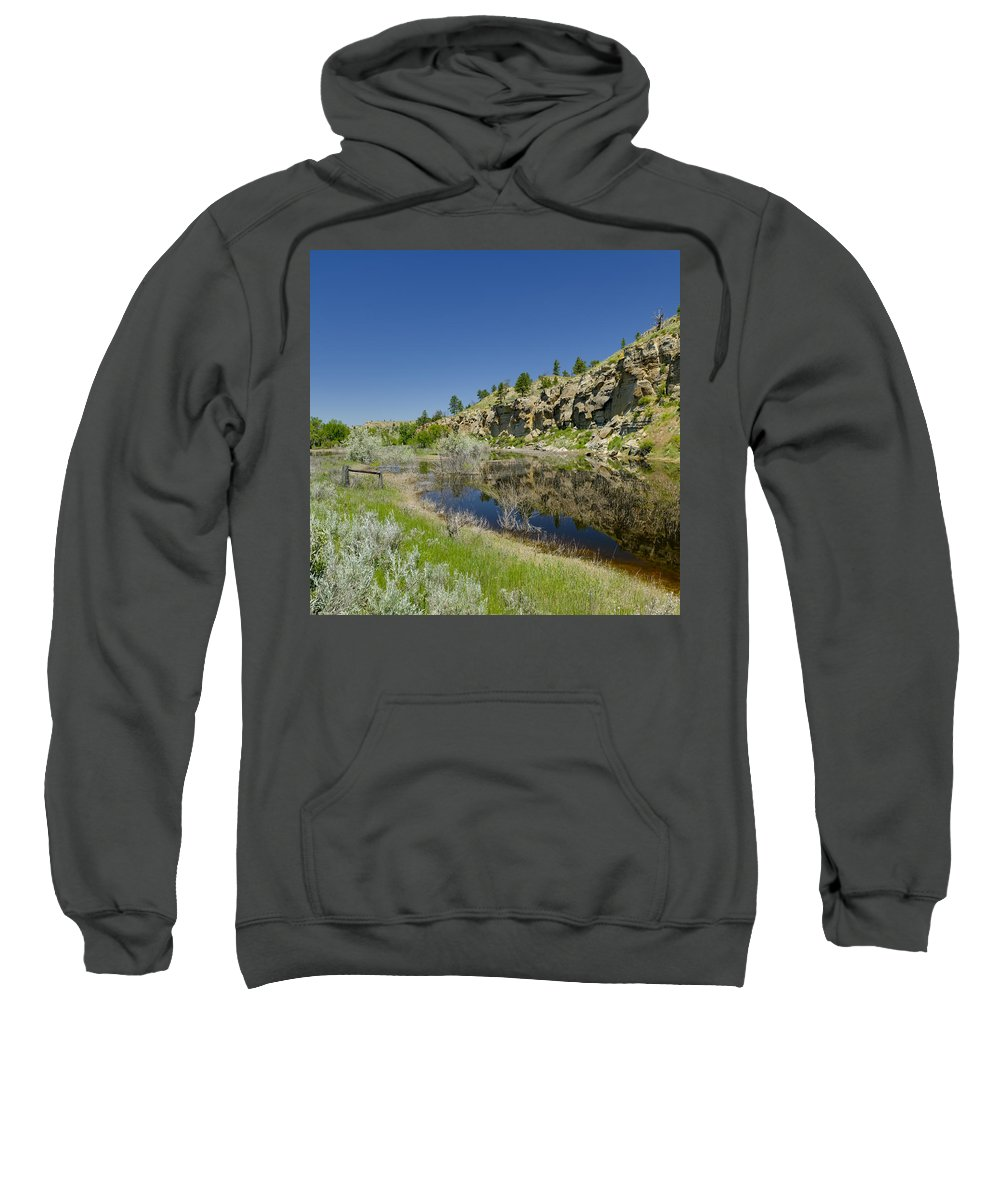 Americas Sweatshirt featuring the photograph Reflecting Cliffs by Roderick Bley