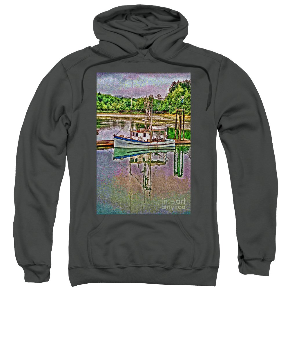 Boats Sweatshirt featuring the photograph Reflection Hdr by Randy Harris
