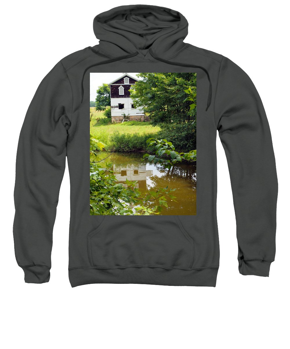 Farm Animals Sweatshirt featuring the photograph Reflection Of The Barn by Robert Margetts