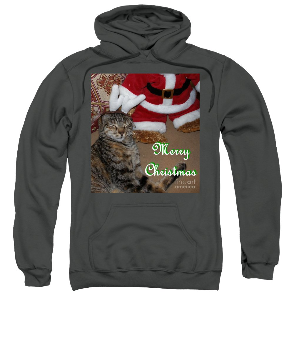 Cat Sweatshirt featuring the photograph Reindeer Dreams by Maria Bonnier-Perez