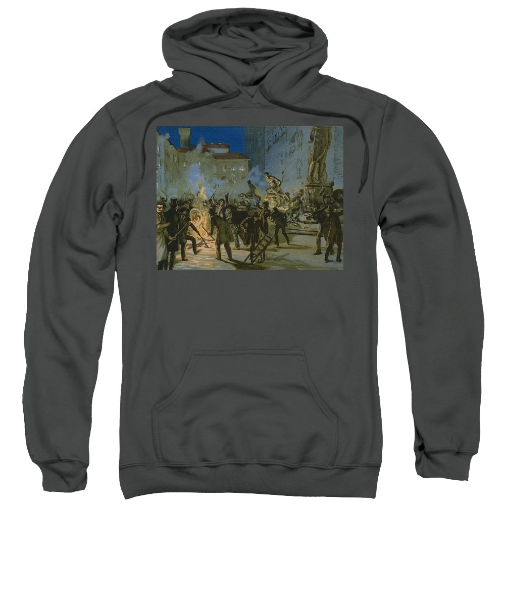 Male; Fire; Burning; Smoke; Night; Nationalist; Nationalists; Italian Unification; Insurrection; Uprising; Rebellion; City; Town; Toscane Sweatshirt featuring the painting Revolution In Florence by Italian School