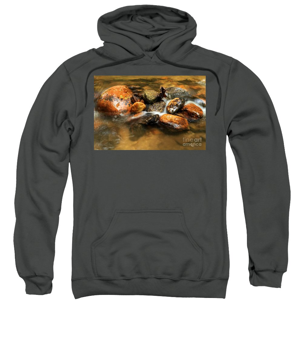 Stone Mountain State Park Sweatshirt featuring the photograph River Rocks by Adam Jewell