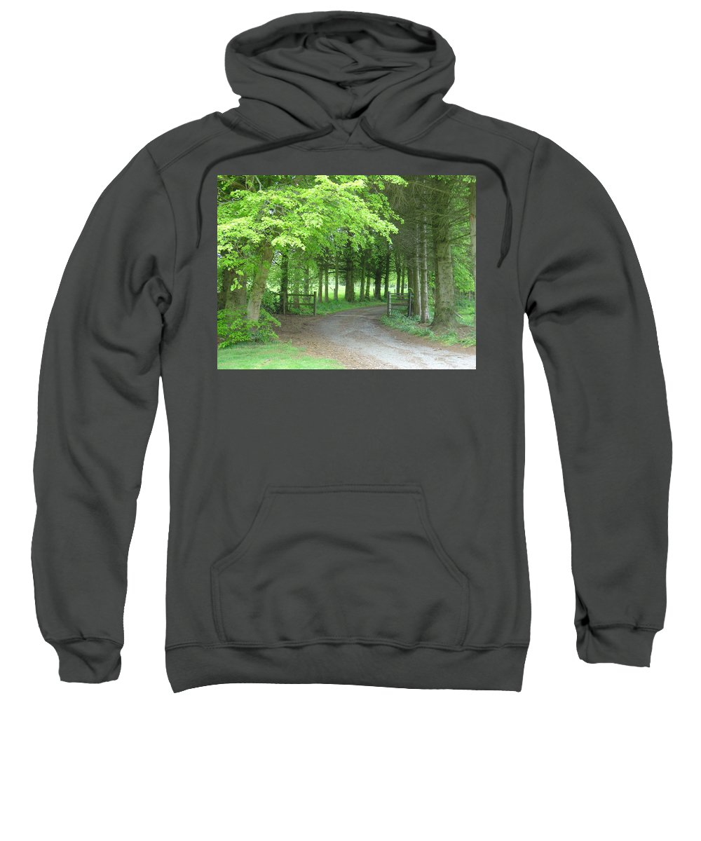 Woods Sweatshirt featuring the photograph Road Into The Woods by Charles and Melisa Morrison