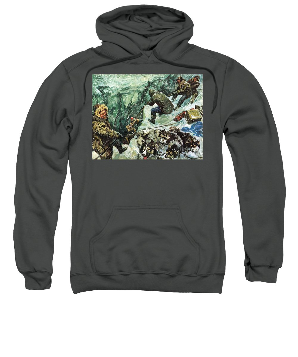 Roald Amundsen; Journey To The South Pole; Antarctic; Cravasse; Sleigh; Snow; Blizzard; Adventure; Being First; Pulling; Provisions; Rescuing; Norway; Norwegians Sweatshirt featuring the painting Roald Amundsen's Journey To The South Pole by Luis Arcas Brauner