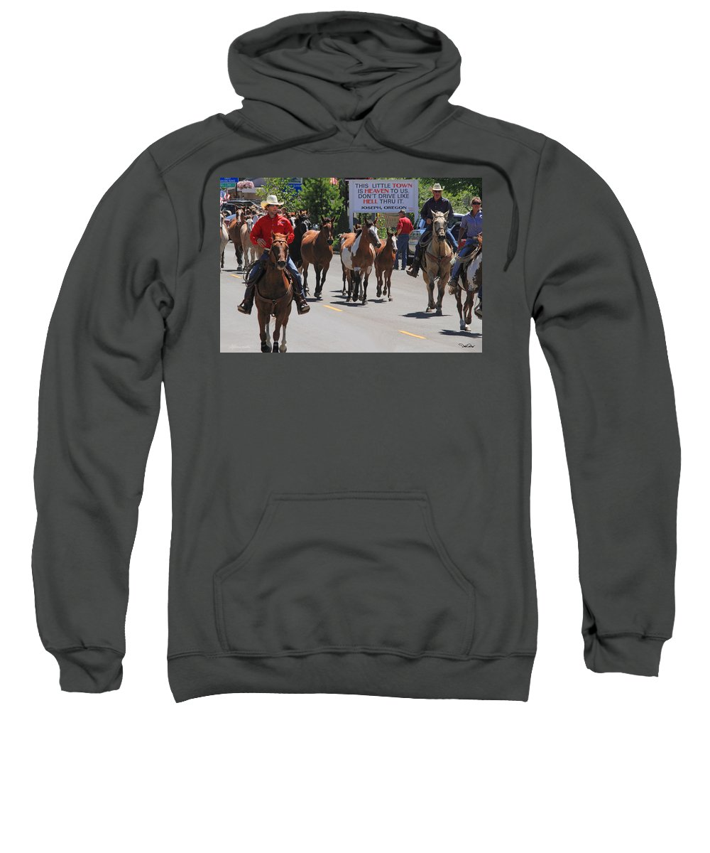 Rodeo Sweatshirt featuring the photograph Running The Horses by David Salter